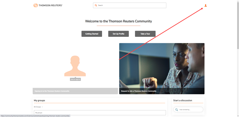 Signing in to the Thomson Reuters Community